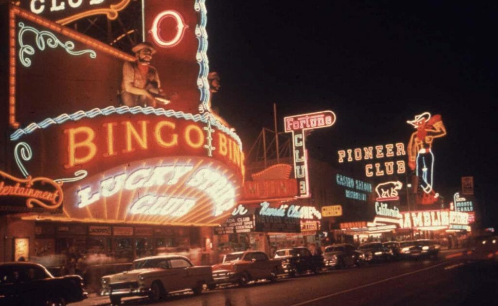 Retro photo of Las Vegas Street lights and cars taken in the 1950s