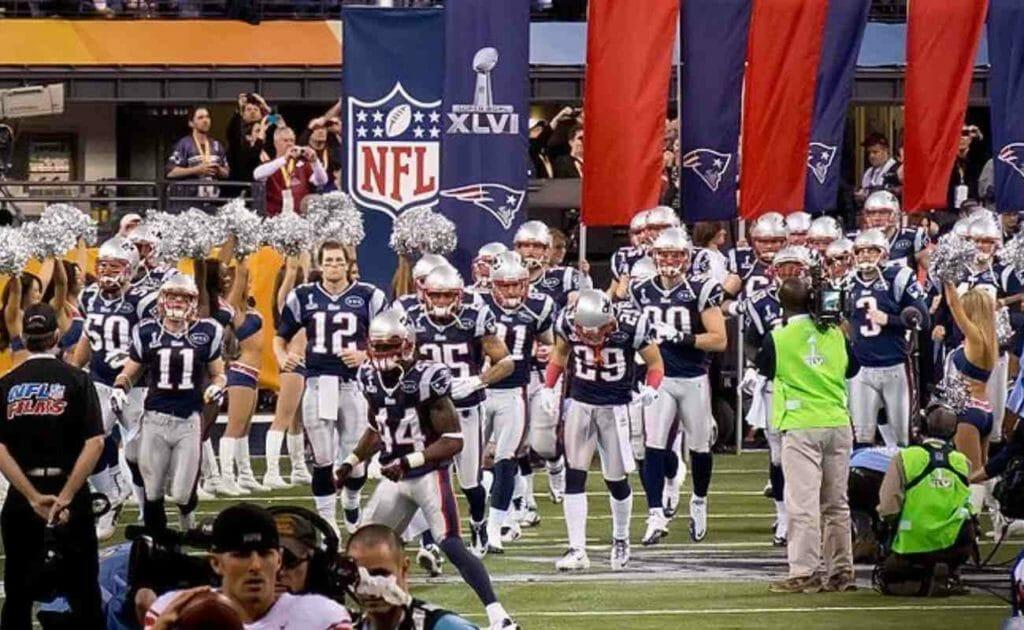 New England Patriots grand entrance Super Bowl 2012