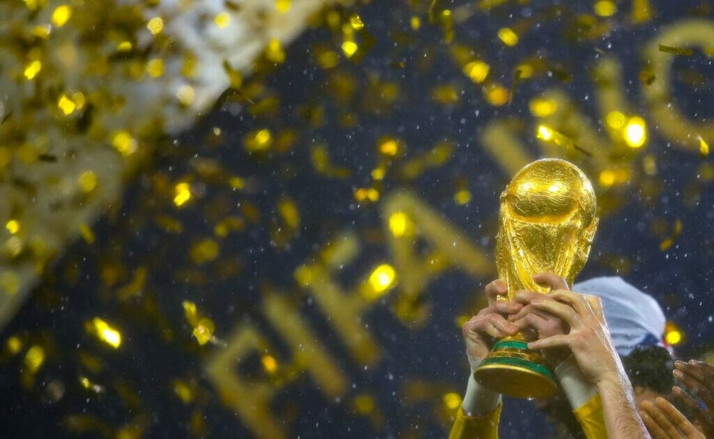 The FIFA World Cup Trophy during the 2018 FIFA World Cup Final between July 2018