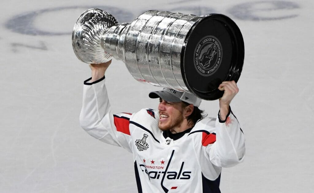 T.J. Oshie of Washington Capitals hoists the Stanley Cup during the 2018 NHL Stanley Cup Final
