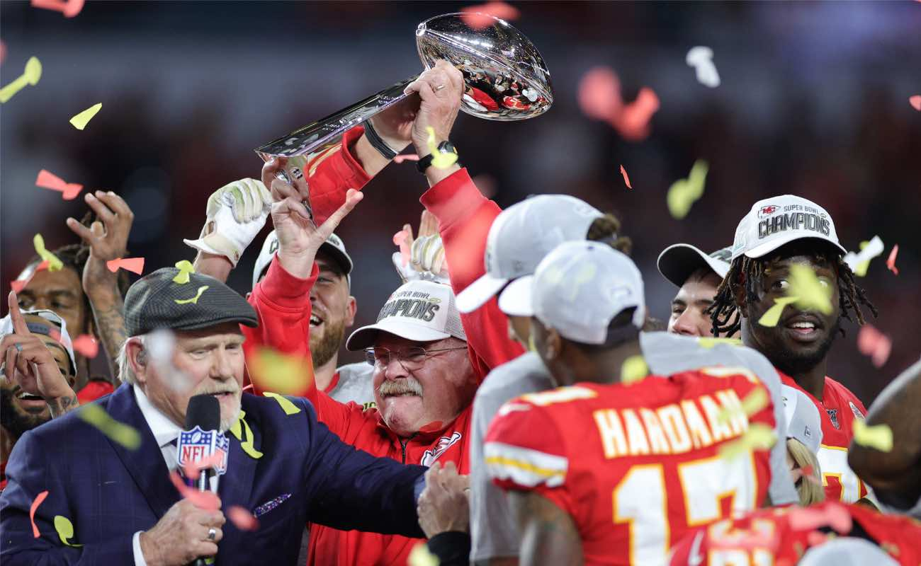 Head coach Andy Reid of Kansas City Chiefs celebrates with the Vince Lombardi Trophy February, 2020