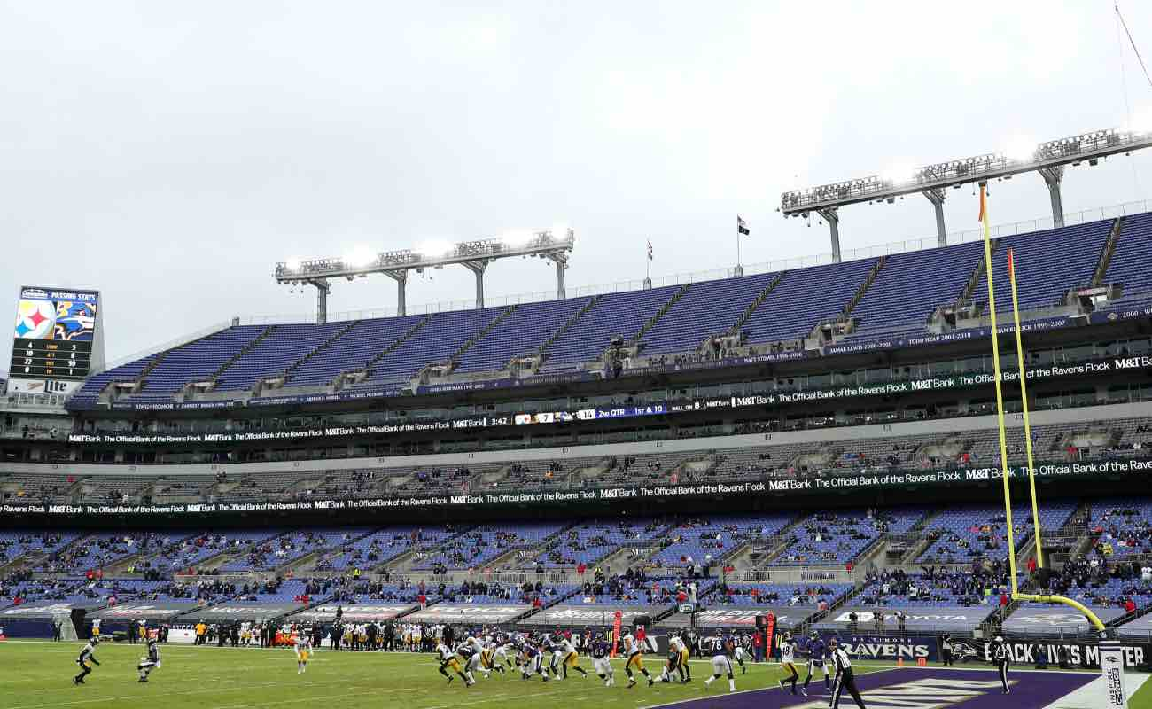 A general view of the Baltimore Ravens and Pittsburgh Steelers playing at M&T Bank Stadium November 2020. Photo by Patrick Smith/Getty Images.