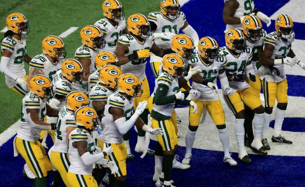The Green Bay Packers celebrate in a game against the Indianapolis Colts at Lucas Oil Stadium. Photo by Justin Casterline/Getty Images