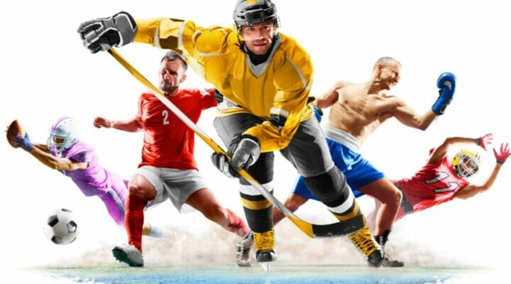 A collage of different sports, including soccer, ice hockey, and boxing.
