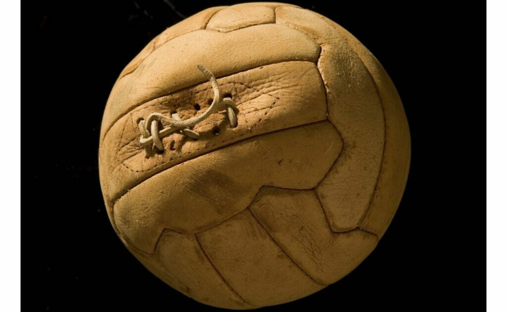 Vintage soccer ball photographed in studio in Los Angeles, California, 2010. (Photo by John Kanuit/Sports Studio Photos/Getty Images)