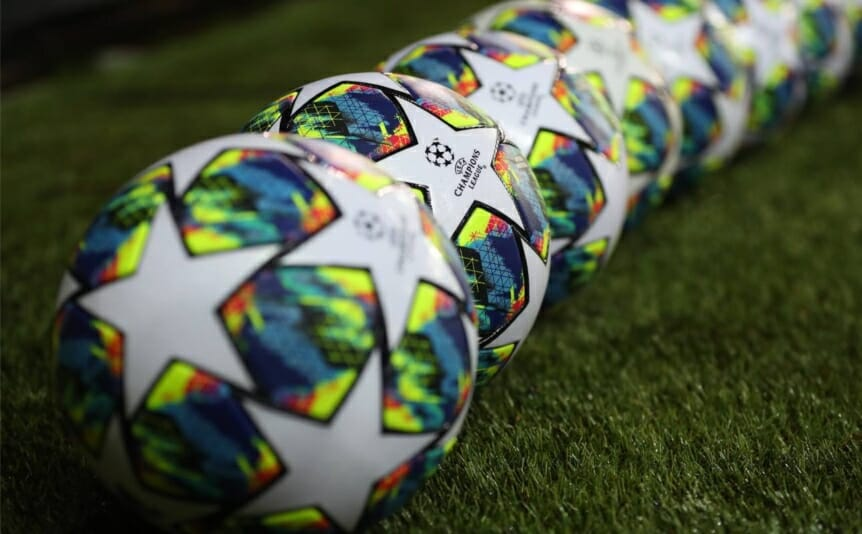 The Adidas match balls ahead of the UEFA Champions League on October 22, 2019, in Brugge, Belgium. (Photo by Catherine Ivill/Getty Images)