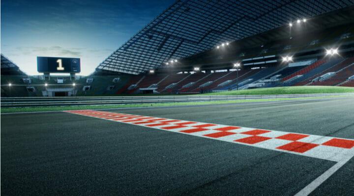 Evening at a Formula 1 racetrack.