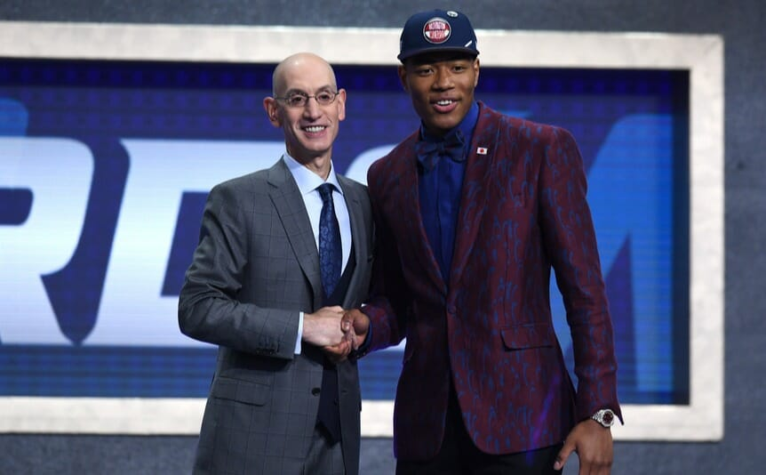 Rui Hachimura poses with NBA Commissioner Adam Silver. He was the ninth pick drafted by the Washington Wizards during the 2019 NBA Draft. Photo by Sarah Stier/Getty Images