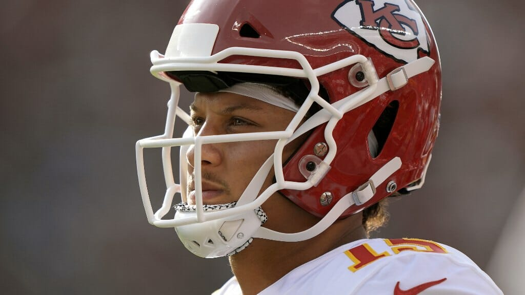 Patrick Mahomes #15 of the Kansas City Chiefs looks on during the first quarter at Levi's Stadium on August 14, 2021. (Photo by Thearon W. Henderson/Getty Images)