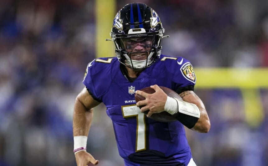 Trace McSorley #7 of the Baltimore Ravens scrambles during the first half of a preseason game against the New Orleans Saints on August 14, 2021. (Photo by Scott Taetsch/Getty Images)