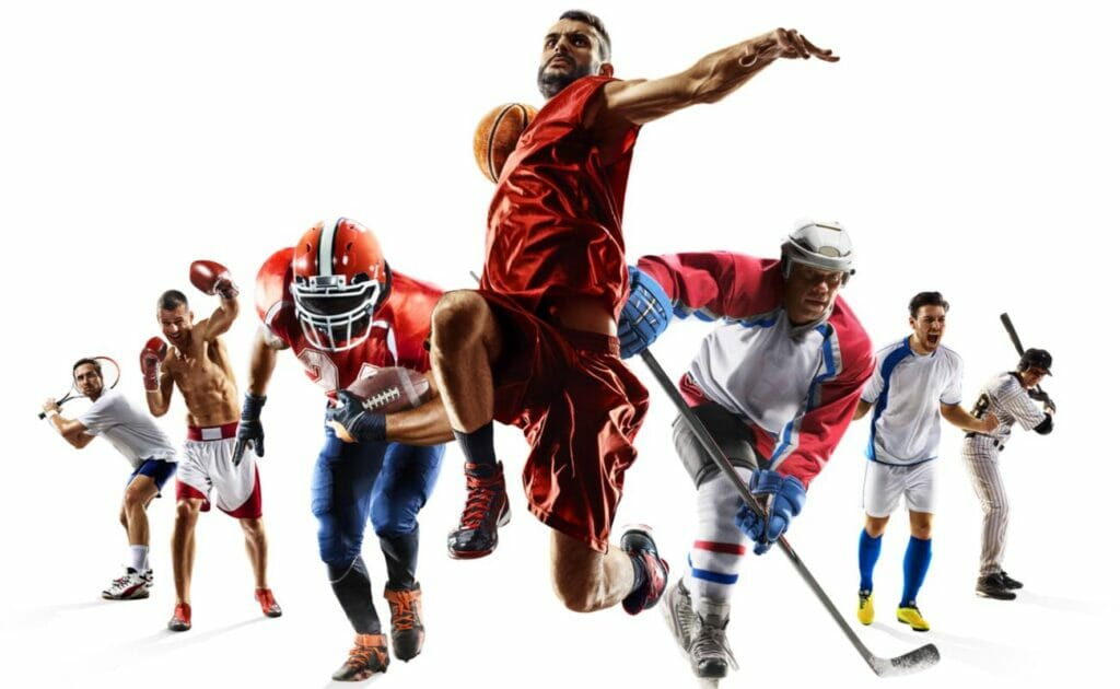 A collage of athletes playing different sports, including basketball, football and hockey.