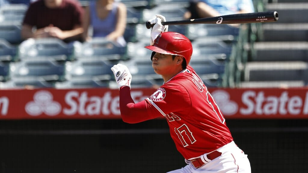 Shohei Ohtani #17 of the Los Angeles Angels hits a single against the Toronto Blue Jays on August 10, 2021 in Anaheim, California. (Photo by Michael Owens/Getty Images)