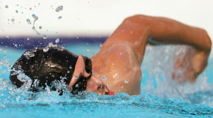 A male athlete swims freestyle.