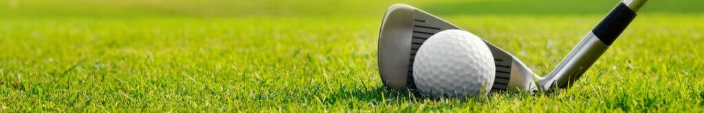 An iron club behind a golf ball on the grass
