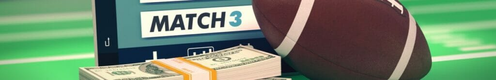 An American football and a stack of money on top of a laptop computer with match results.