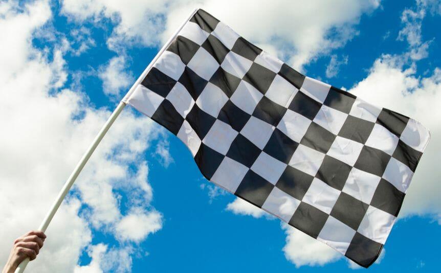A checkered racing flag.