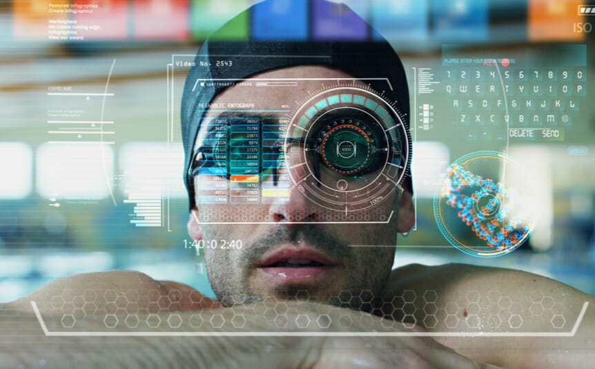 Face of a swimmer overlaid by onscreen data.