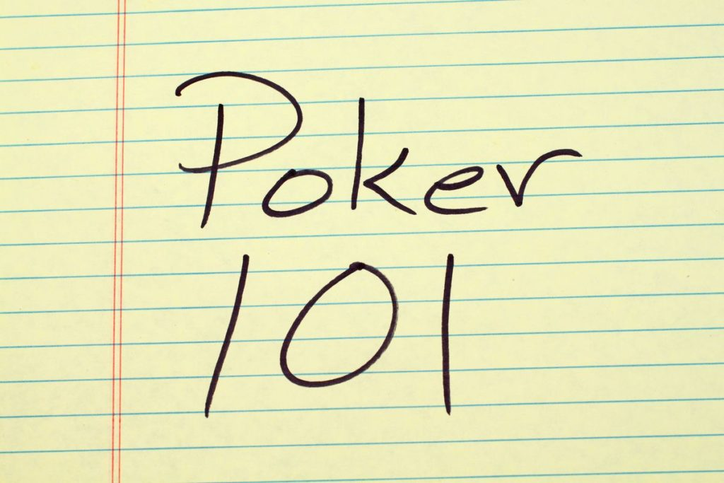 The words Poker 101 written on a yellow legal pad
