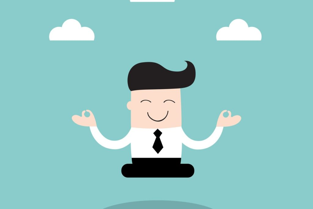 Cartoon man wearing a suit meditating outside under clouds in a blue sky