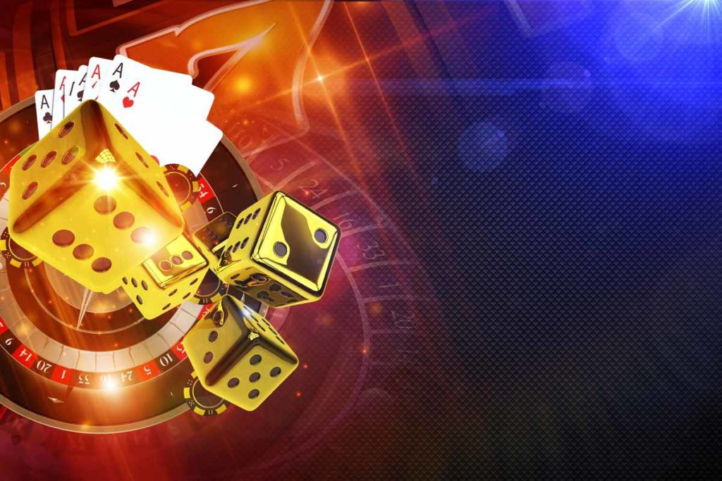 Casino graphic showing a roulette, Ace cards, gold dice, and a slots machine