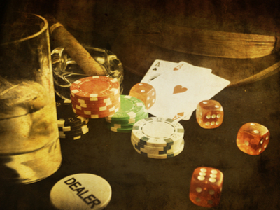 Vintage photo of casino items