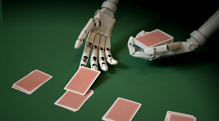 Robotic hand dealing cards on a green casino table
