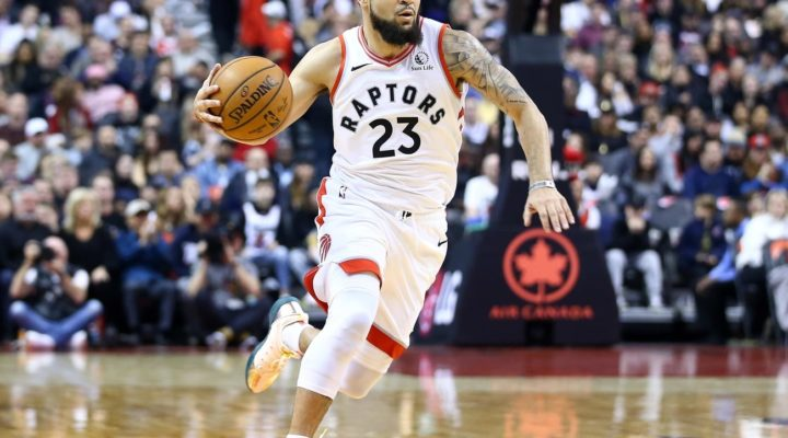 Fred VanVleet #23 of the Toronto Raptors dribbles the ball during the first half of an NBA game against the Cleveland Cavaliers at Scotiabank Arena on December 31, 2019 in Toronto, Canada.
