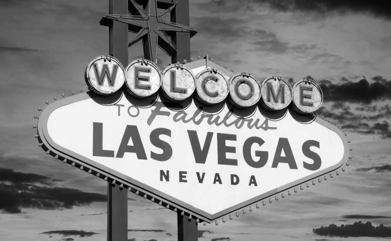 black and white welcome to Las Vegas sign