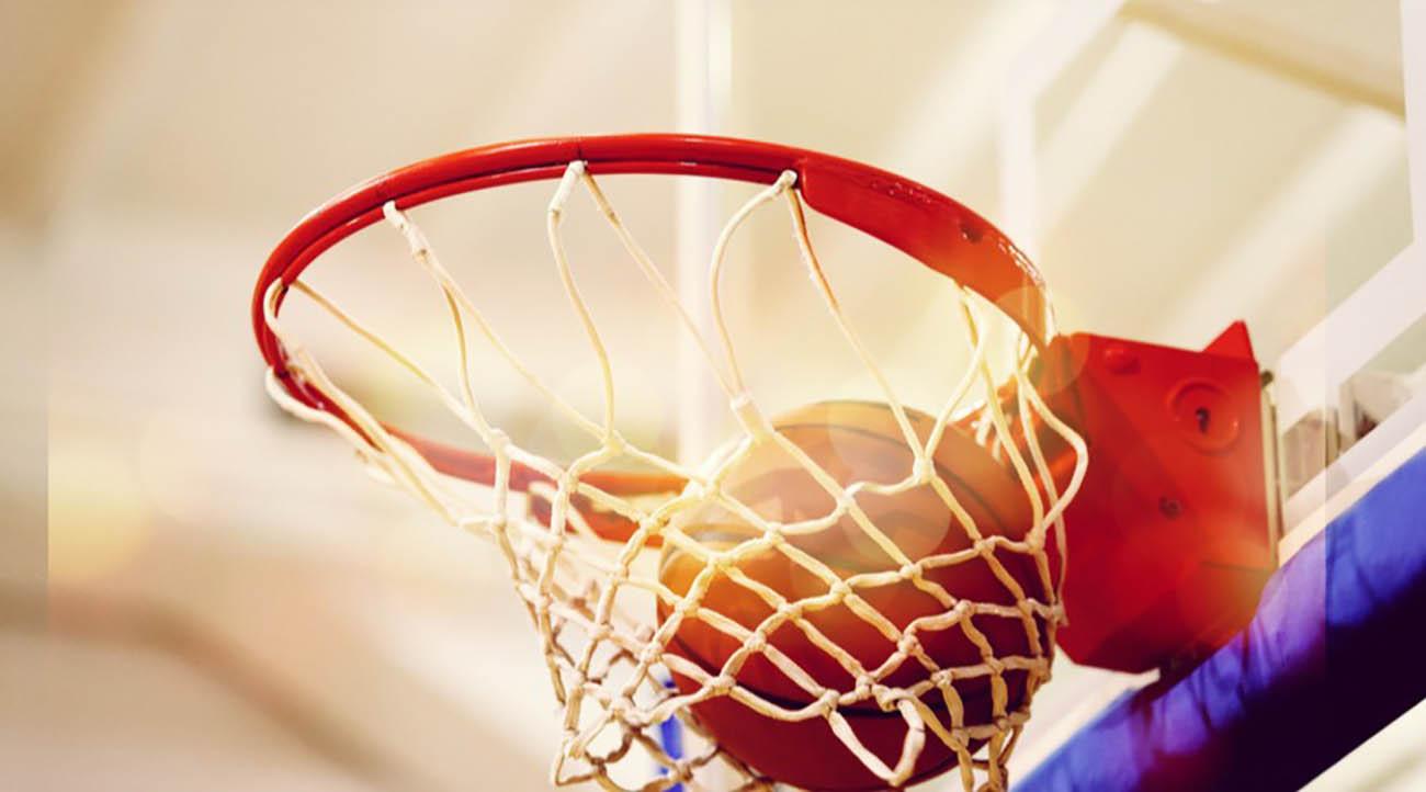 Basketball in a basketball hoop