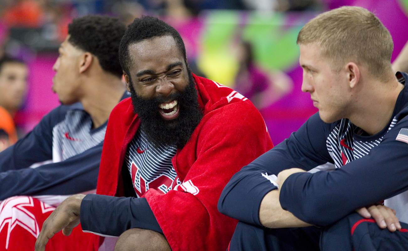 James Harden laughing with another player.