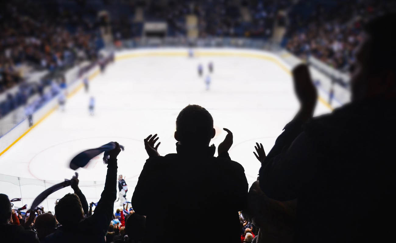 Hockey fans cheering in a hockey stadium