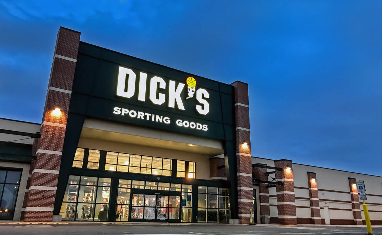 Outside of a big Dick's sporting goods department store