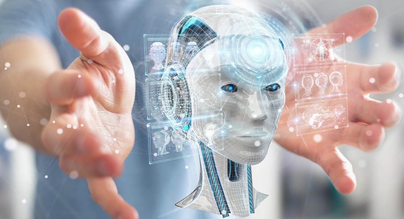human hands holding a A.I hologram