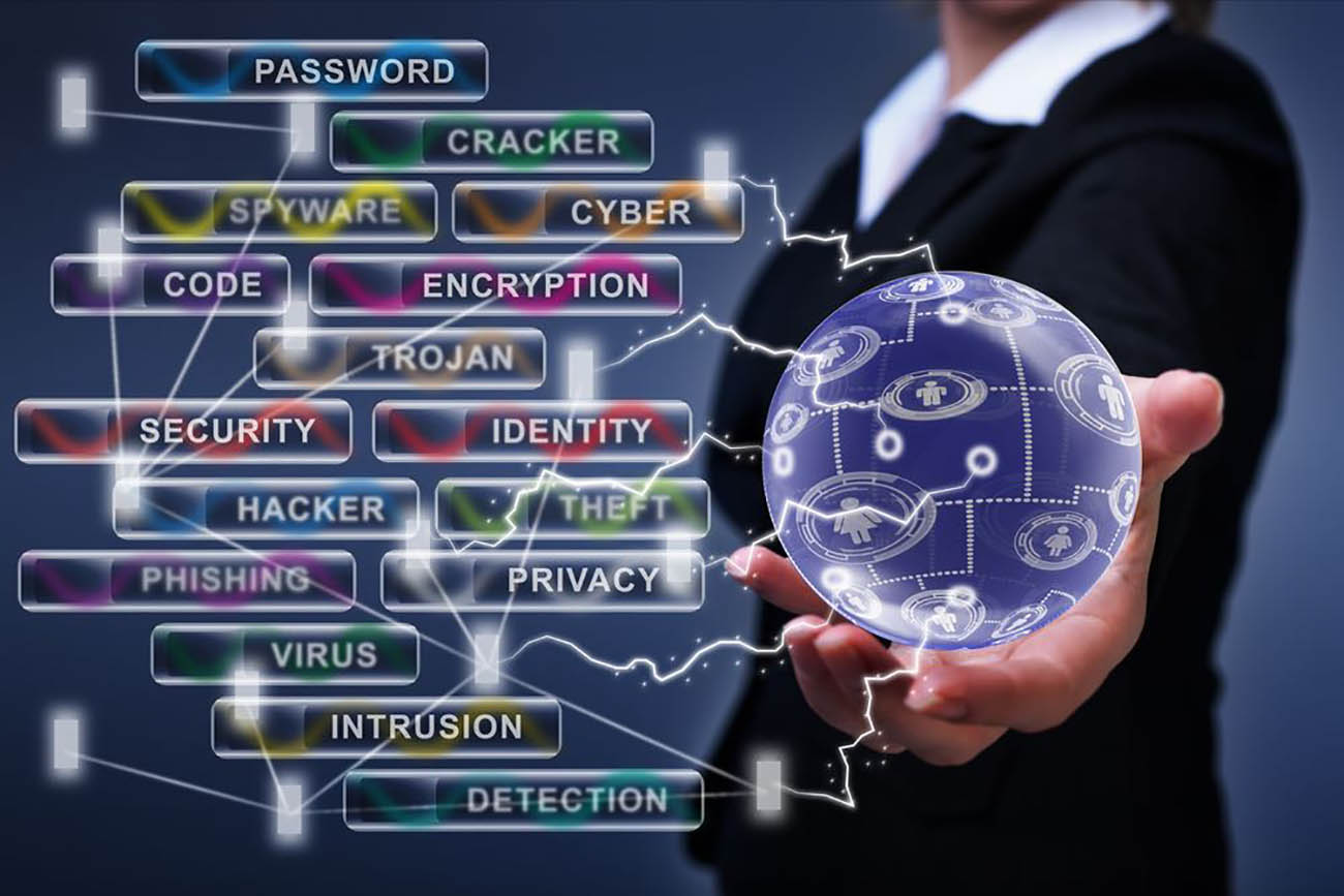 woman holding a ball with cyber security facets
