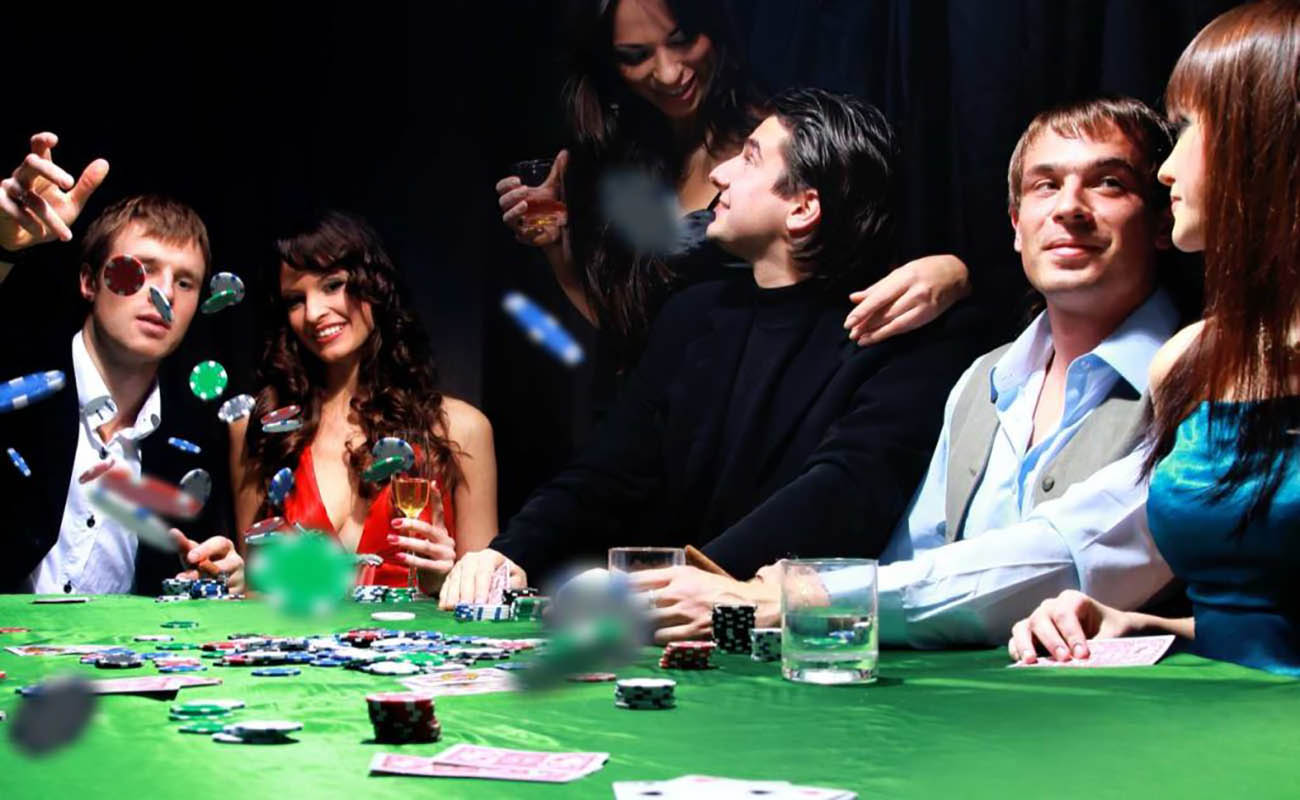 three couples playing poker with one man throwing casino chips at the table