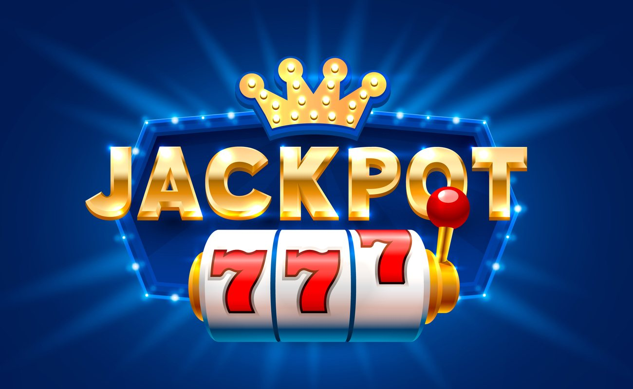 Big gold lettering spells out 'JACKPOT' with three 7 numbers on the slot reels, on a blue background.