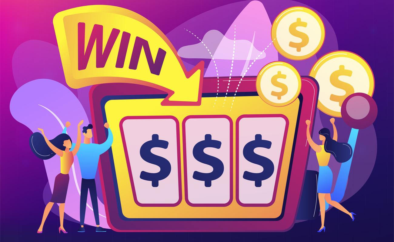 illustration of people celebrating their winning on a slot machine