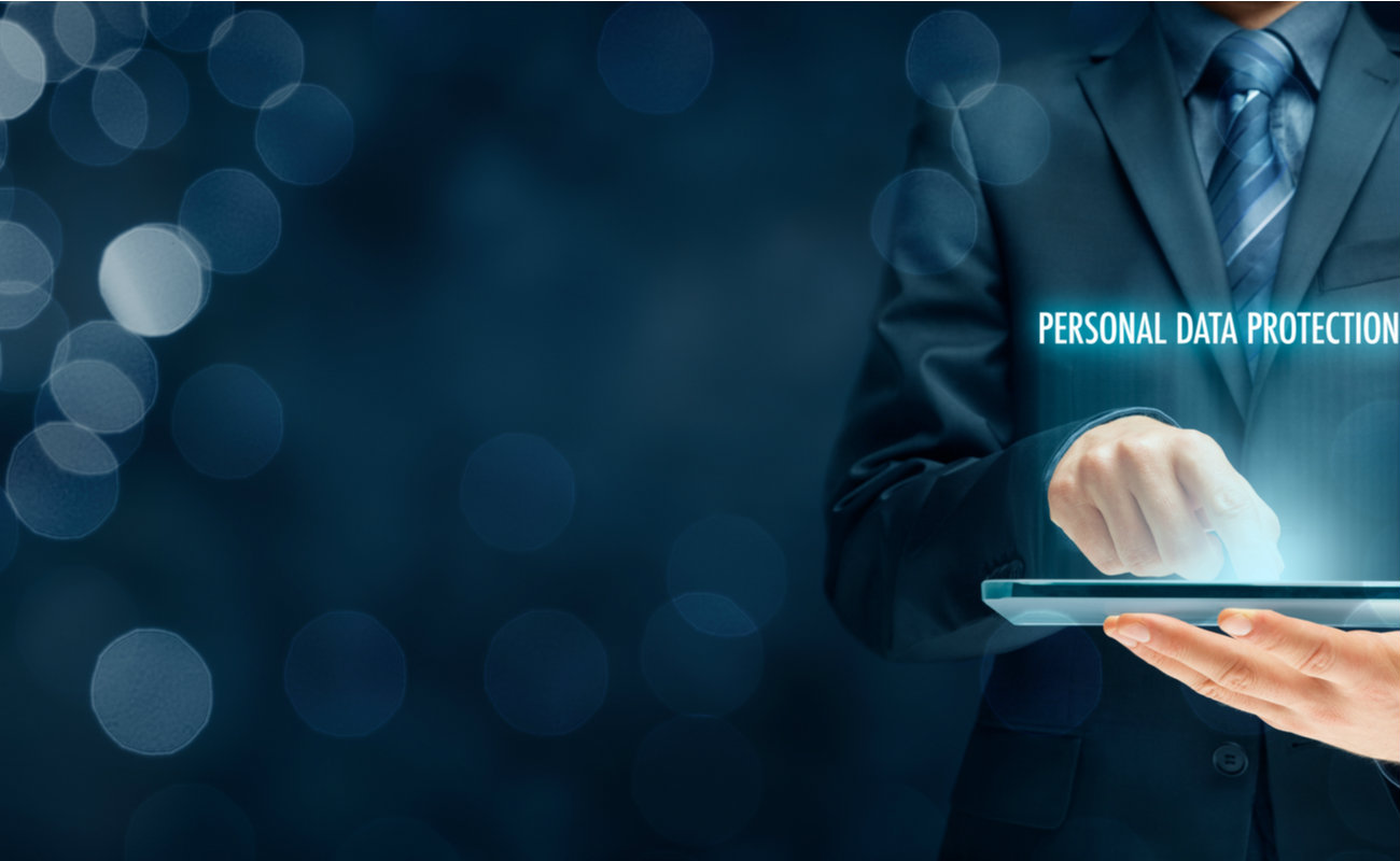 Businessman activate sensitive personal data protection.