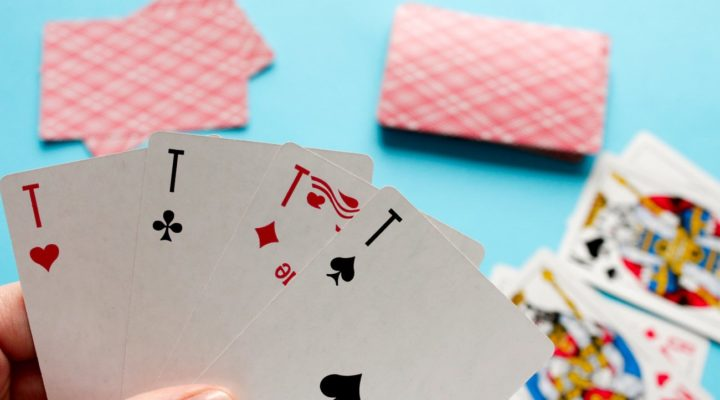 Hand with card-playing poker