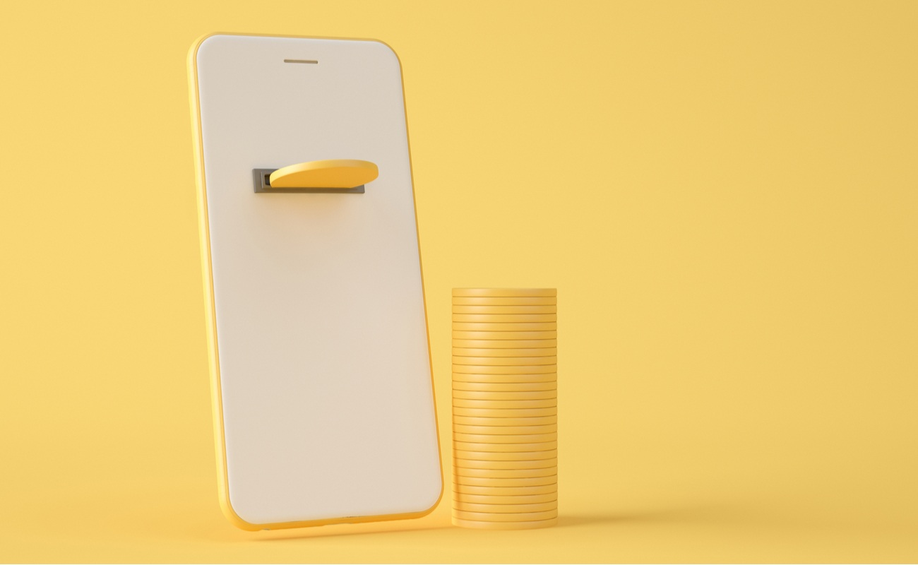 3D Illustration of golden coin ejected by smartphone on yellow background