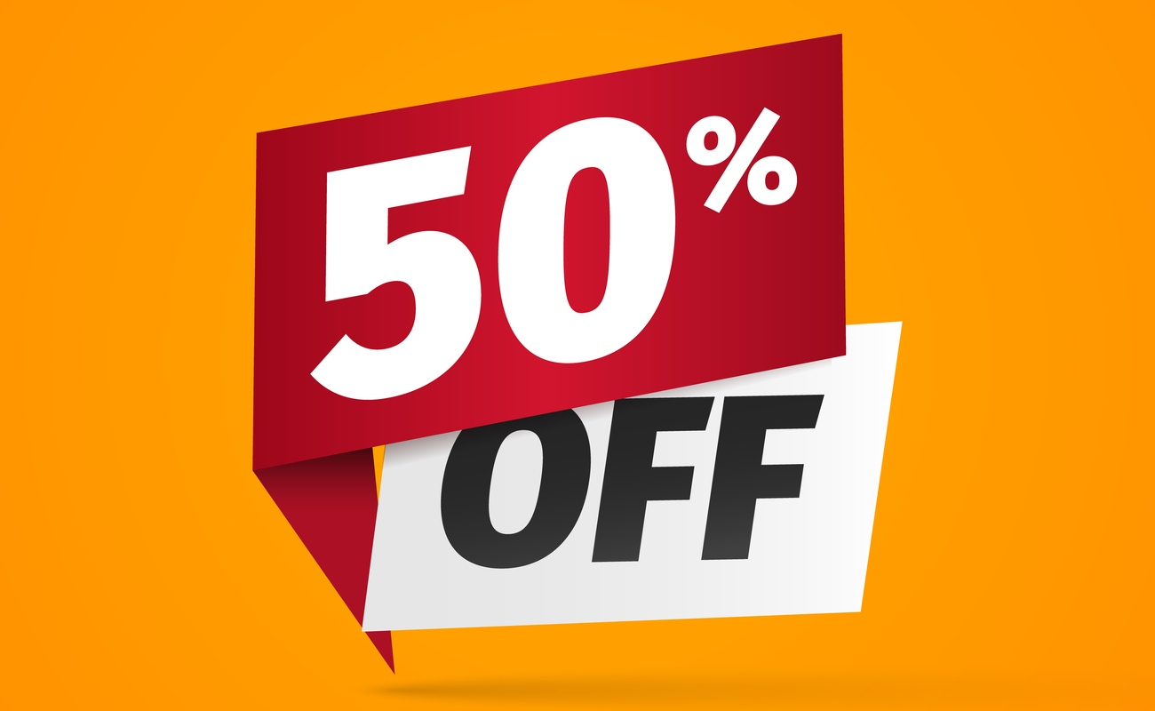 Yellow Sticker with fifty percent discount