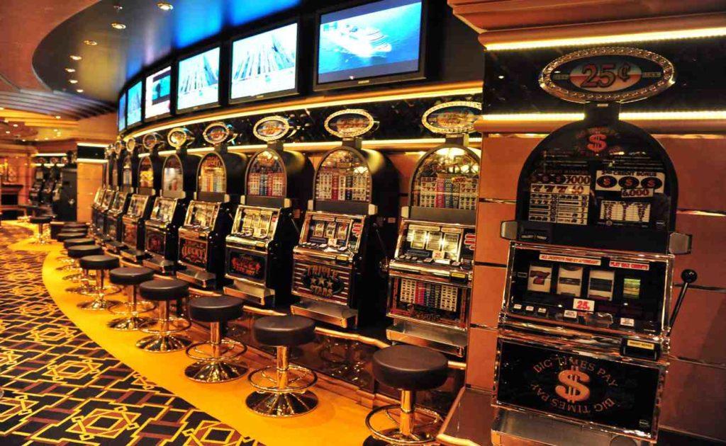 Line of Slot machines on board MSC - SPLENDIDA