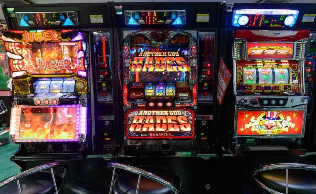 View of slot machines inside a pachinko at Yodobashi, Hakata