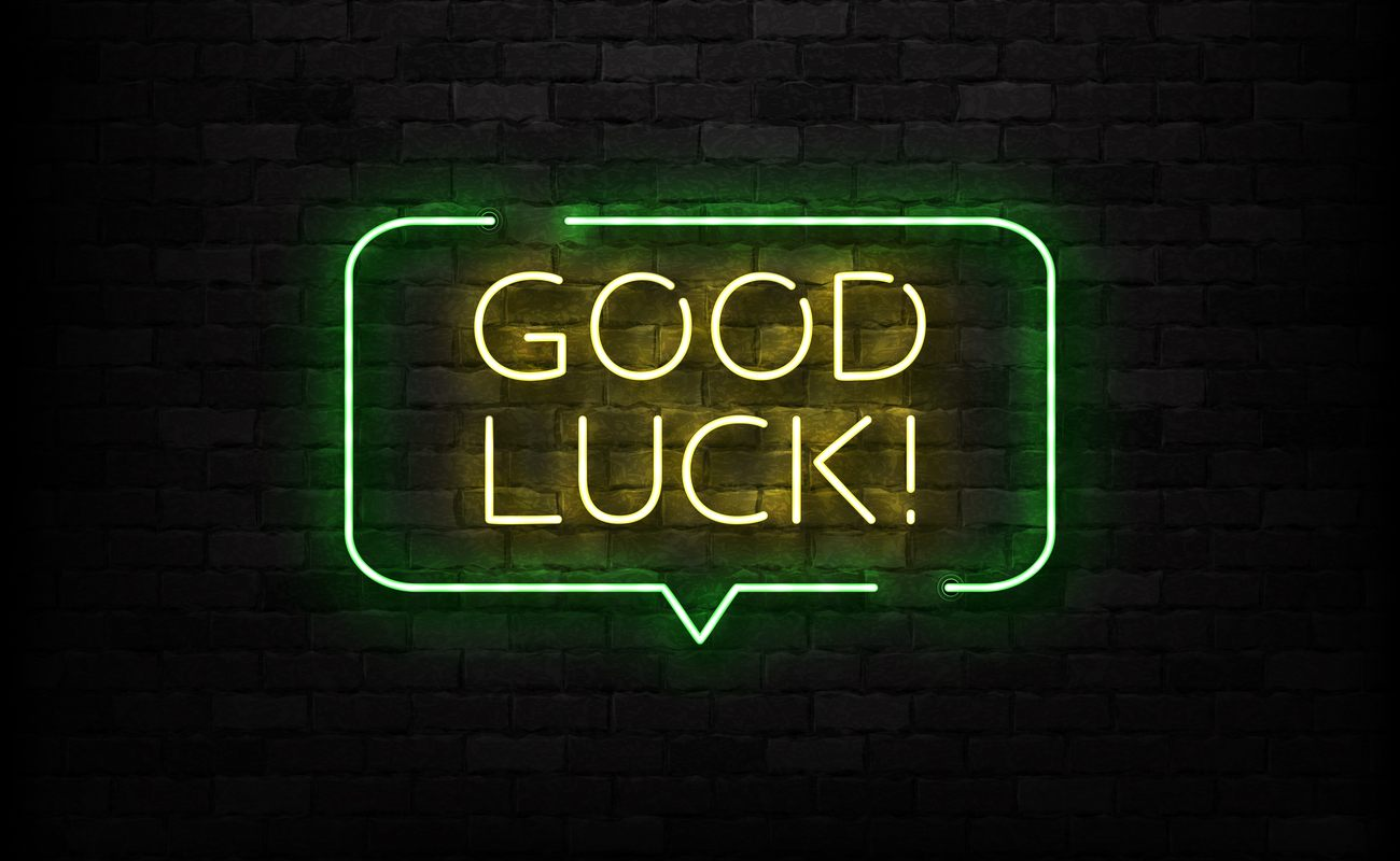 Neon sign of good luck logo