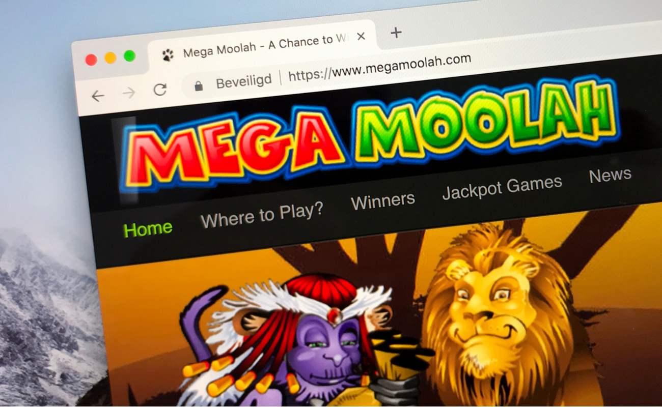 Website of Mega Moolah progressive online jackpot game