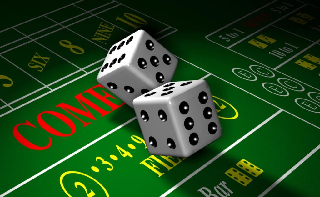Computer-generated 3D illustration depicting a roll of the dice on a craps gaming table