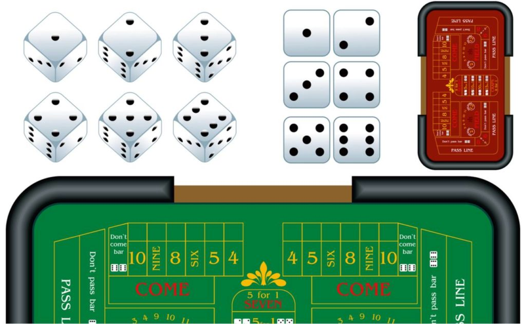 Vector illustration of a craps table and various dices
