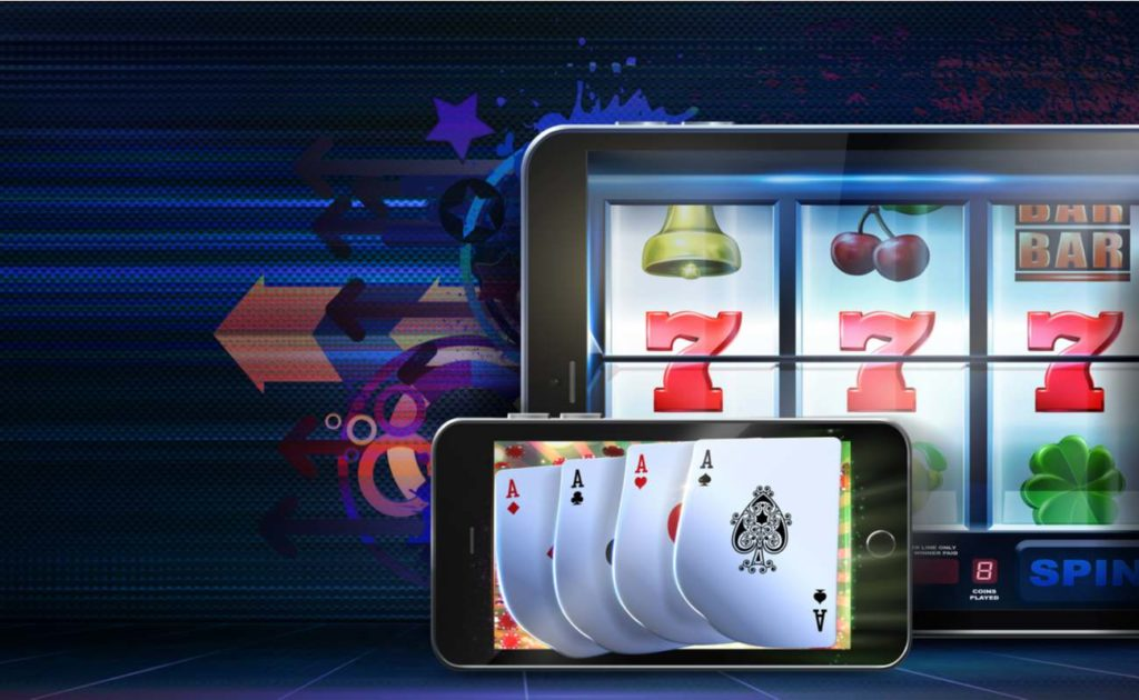 playing slots, poker and roulette games at online casinos using mobile devices.