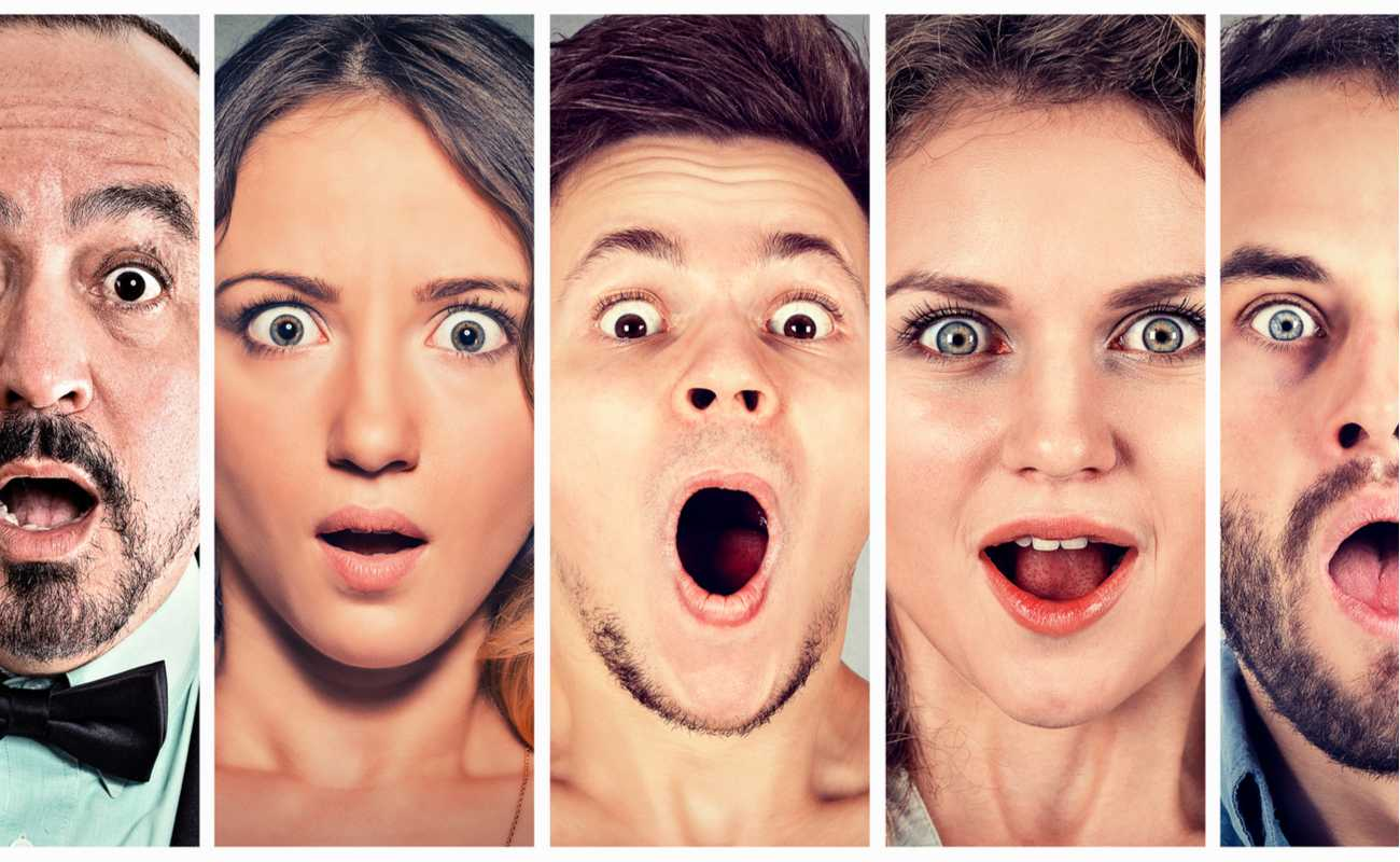 A range of surprised and shocked people's faces