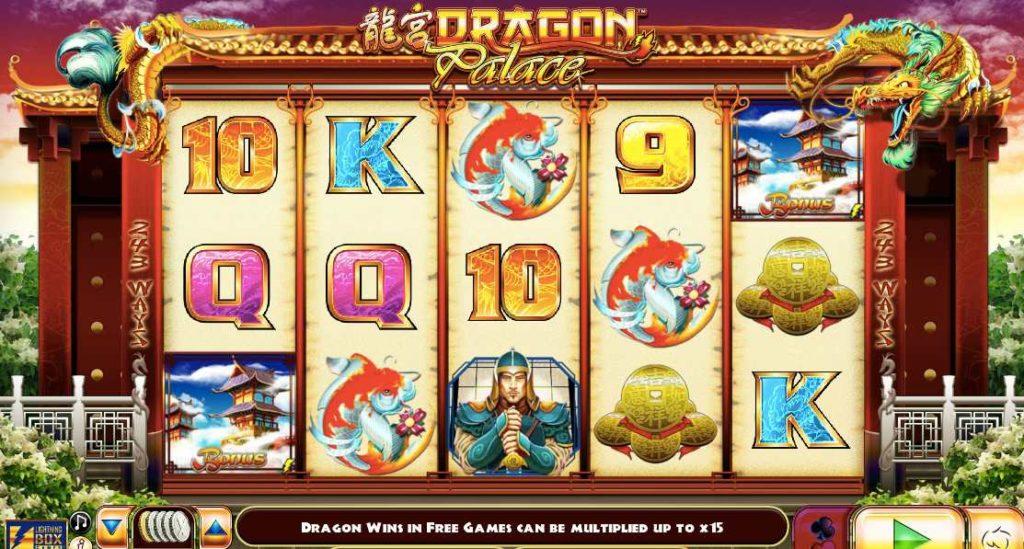 screenshot of Dragon Palace online slots game by NYX gaming